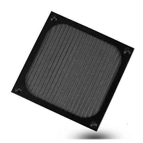 120mm Aluminium Fan Filter - 2 Sets - Black Cooling Computer Metal Fan Grills Dustproof Fan Cover by (Aluminum Fan Filter)