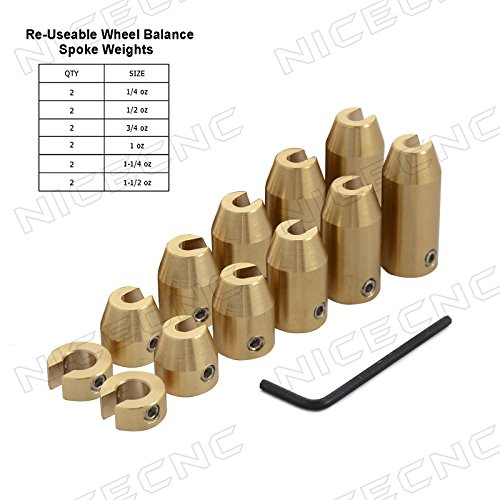 Motorcycle Wheel Weights (NICECNC 12 Pack Motorcycle Reusable Brass Wheel Spoke Balance Weights Refill Kits for Super Moto,Dual sport,metric cruisers,vintage or any other spoked wheels)