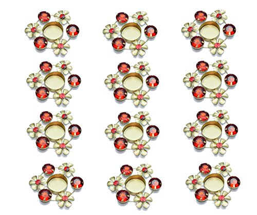 Set of 12 pc Diwali Diya Gift/Decoration Beautiful Candle Tea Light Holder with Red Stones in Random Foil Paint. Diwali Diya Oil lamp/Christmas Decoration -