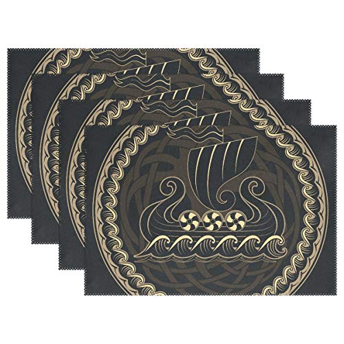 (DNOVING Kitchen Place Mats Viking Drakkar Ship Placemats Heat Insulation Stain Resistant for Dining Table Durable Non-Slip Kitchen Table Place Mats Set of 4)