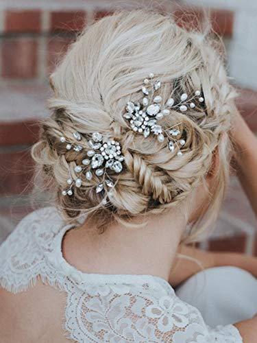 - Barogirl Wedding Hair Pins Decorative Faux Pearl Hair Pin Clip Rhinestone Hair Jewelry for Women and Girls 2 PCS (Silver)