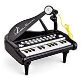 Kids Piano Keyboard Toy 24 Keys Black Electronic Educational Musical Instrument with Microphone