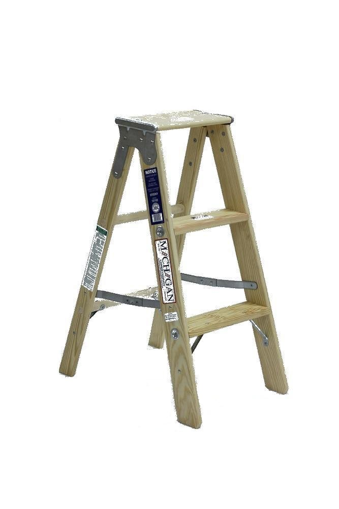 Michigan Ladder 1311-03 250 Pound Duty Rating Type 1 Stocky Wood Stepladder, 3-Foot