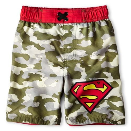Superman Little Boys Cameo Swim Trunks Bathing Suit -