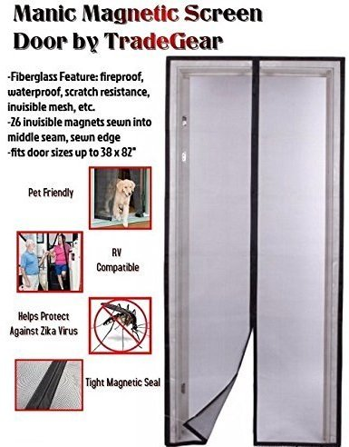 TradeGear Magnetic Screen Door Fits Full Frame Door Openings Up To 38''x 82'' Heavy-Duty Made of Durable Fiberglass Mesh And Sewn-In Magnets Keeps The Bugs Out And Lets The Fresh Air And Breeze In by TradeGear