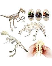 deAO Set de 3 Esqueletos Fósil de Dinosaurio Figura de Juguete para Montar con Huesos Simulados Actividad Educativa Infantil