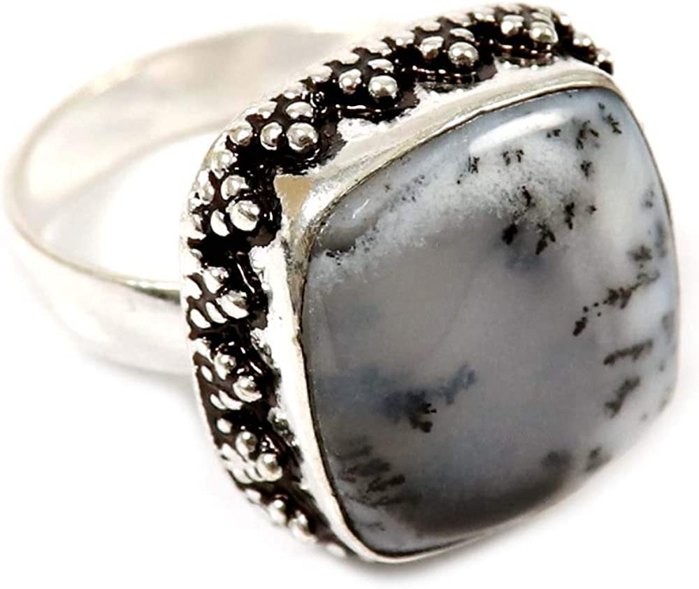 Silver Plated Jewelry GRE-29 GoyalCrafts Natural Dendrite Opal Nice Gemstone Ring US-8.5