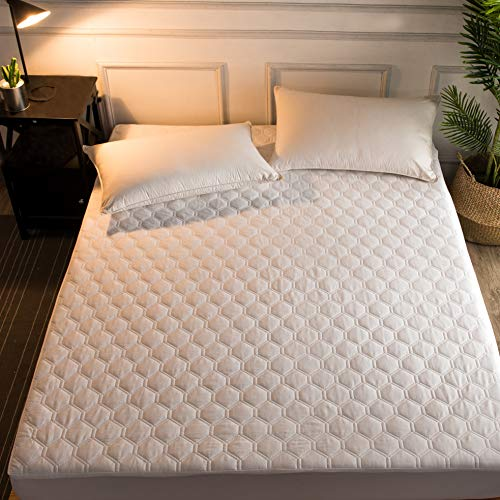 Hani Minna Premium Quilted Fitted Mattress Pad Protector Made with Natural Combed Cotton - Cooling and Breathable Mattress Toppers (Queen) (Best Cotton Mattress Pad)