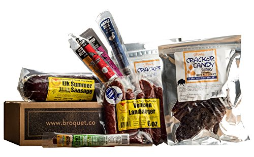 Exotic Meat Gift Box (Exotic Jerky Gift) - Jerky & Meat Sticks & Sausage Sampler - Father's Day Gift - Comes in a Cardboard Box - Exotic Meat Jerky Gift - Great Gift for Men by Broquet