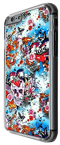 1475 - Cool Fun Trendy skeleton floral flowers roses walking dead scary skull tattoo biker skull Design iphone 6 6S 4.7'' Coque Fashion Trend Case Coque Protection Cover plastique et métal - Clear