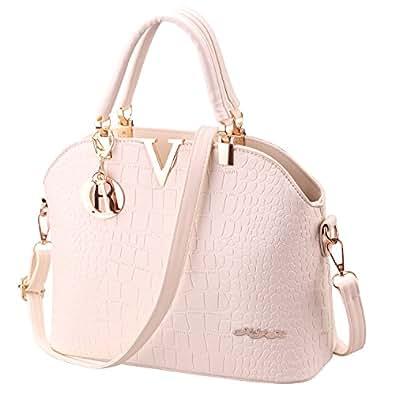 XYH PU Leather Womens Shoulder Bags Top-Handle Handbag Tote Purse Bag (Beige)