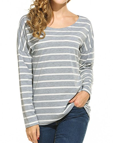 Women's Black and White Stripes Long Sleeve T-shirt Tops (XL, Gray)