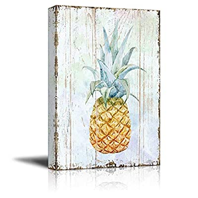 Canvas Wall Art - Pineapple on Wood Style Background - Giclee Print Gallery Wrap Modern Home Art | Ready to Hang - 12x18 inches