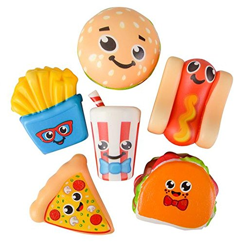 (Kicko 3.75 Inch Slow Rising Squishy Fast Food Toys - 6 Piece Assorted Scented Simulation Tasty Decorations, Stress Reliever, Learning Tool, Perfect for Occasional Gifts, Party Favor and Bag Fillers)
