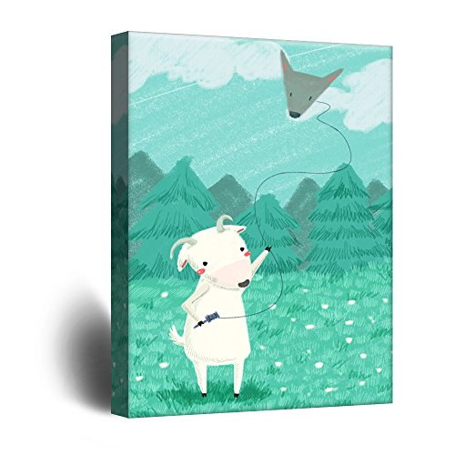 Cute Cartoon Animals A Sheep Flying a Wolf Head Shaped Kite Kid