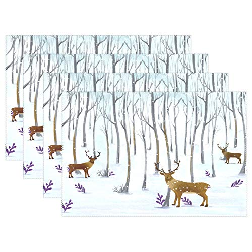 - Placemats Winter Deer Snow Forest Kitchen Table Mats Resistant Heat Placemat for Dining Table Washable 12