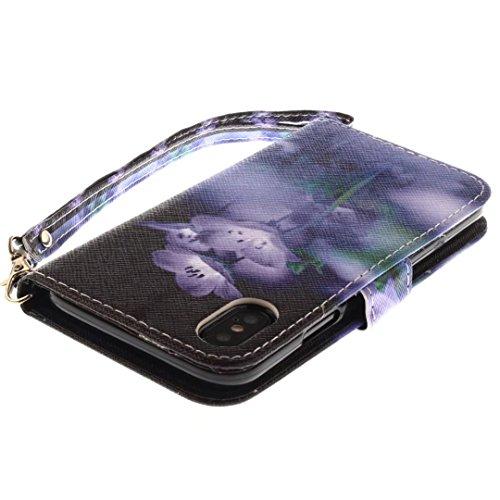 COWX iPhone X Hülle Kunstleder Tasche Flip im Bookstyle Klapphülle mit Weiche Silikon Handyhalter PU Lederhülle für Apple iPhone X Tasche Brieftasche Schutzhülle für iPhone X schutzhülle edS86hA1fP