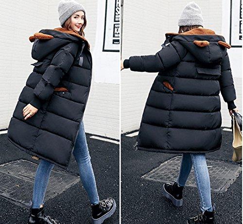 Spessore Stile Di Cappotto Coreano Nero Bigood Giù Delle Signore Donne Delle Cappotto Imbottito 0OSd6w