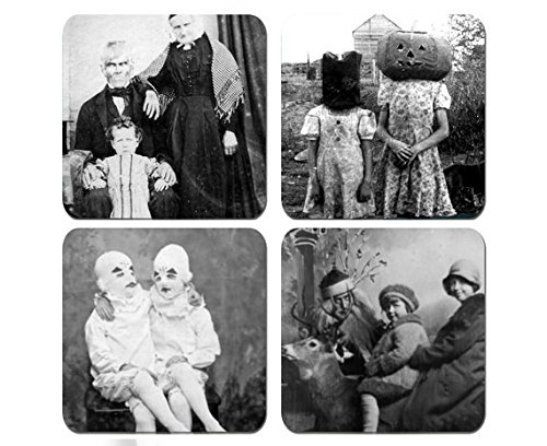 Creepy Vintage Photos - Halloween Old Pictures - Set of 4 Coasters 1/4 inch thick Very (Halloween Photos Vintage)