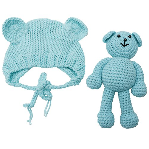 JUA PORROR Newborn Baby Girl Boy Crochet Knit Costume Bear +Hat Set Photography Prop Photo (Blue) (Picture Afghans)