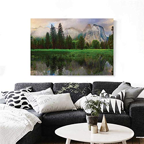 Yosemite Canvas Wall Art Sunset Panorama of Yosemite Cathedral Rocks Trees Cloudy Sky Reflection Riverside Print Paintings for Home Wall Office Decor 48