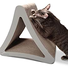PetFusion 3-Sided Vertical Cat Scratcher and Post (Standard Size, Warm Gray)
