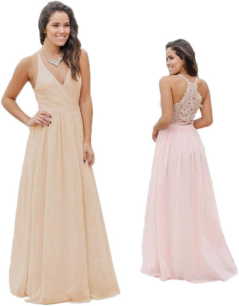 Jdress Womens Lace A Line V Neck Chiffon Bridesmaid Dresses Long Wedding Evening Dress