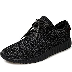 SportsClub Mens Lightweight Fashion Sneakers Lace Up Athletic Breathable Comfortable Casual Daily Running Walking Shoes Shoe,Pure Black,42