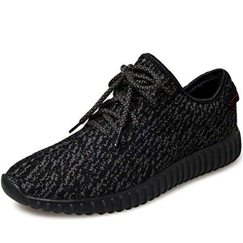 SportsClub Mens Lightweight Fashion Sneakers Lace Up Athletic Breathable Comfortable Casual Daily Running Walking Shoes Shoe,Pure Black,43