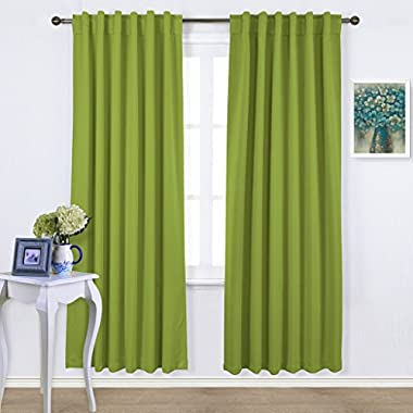 Nicetown Blackout Room Darkening Curtains / Drapes - Green 2 Panels Set W52  x L95  each panel, 7 Back Loops per Panel - Back Tab / Rod Pocket