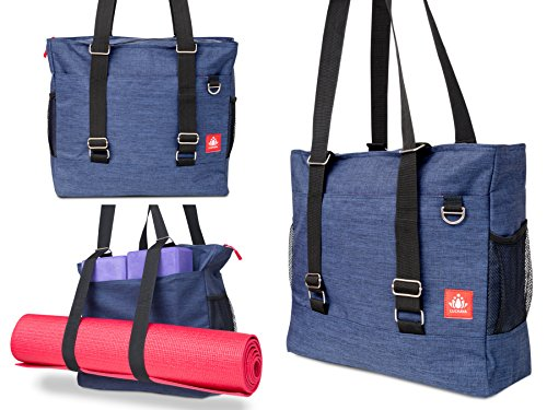 Convertable Bag (LUCKAYA Yoga Mat Tote bag/Backpack: Multi Purpose Carryall Bag For Office,Yoga,Travel and Gym! Carry Your Mat of any size,Laptop and Gear in One Bag! … (NAVY BLUE))