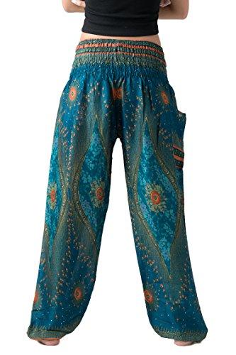 0e82ab84e2058 Bangkokpants Women's Boho Pants Hippie Clothes Yoga Outfits Peacock Design  One Size Fits