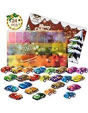 QIXINHANG LIHAO Adventskalender mini auto speelgoed auto voor Kerstmis geschenk kinderen jongen meisjes 24 stuks (MEERWEG)