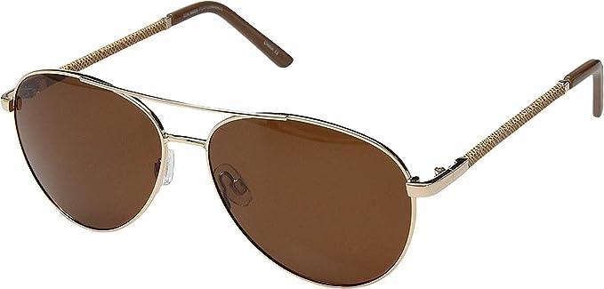 362f886b4fe53 Steve Madden Women s Polarized Callie Gold Frame Brown Lens One Size ...