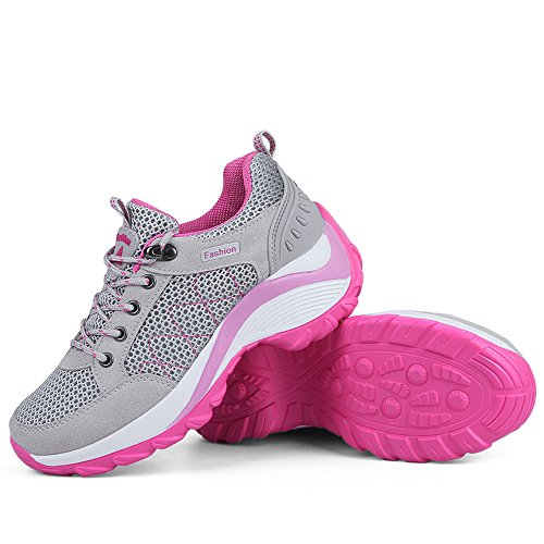 Zenobia Womens Sneakers Grey Trekking Mesh Hiking Breathable Outdoor Shoes for Women Comfortable Fashion qcZPOqB