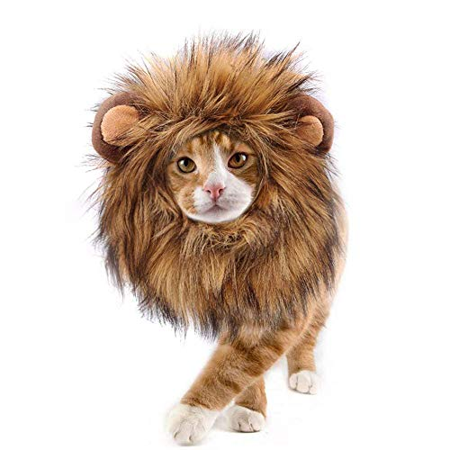 Lovelion Lion Mane for cat Costume Pet Adjustable Washable Comfortable Fancy Lion HairTimKong Clothes Dress for Halloween Christmas Easter Festival Party Activity