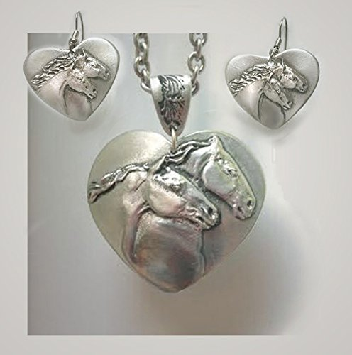 Horse Lady Gifts jewelry set,Horse Lovers Heart Pendant & Earring set in pewter, handmade USA.