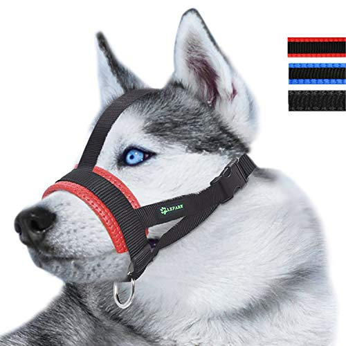 Lepark Head Strap Dog Muzzle Prevent from Taking Off by Paws for Small,Medium and Large Dogs(M/Red)