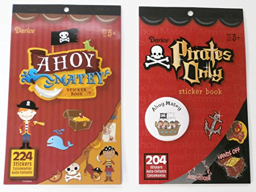 2 Pirate Sticker Books with Ahoy Matey Button