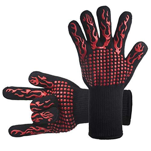 DsFiyeng BBQ Gloves Grill Gloves Oven Gloves 932°F for Cooking, Grilling, Baking- Grill & Kitchen Accessories by DsFiyeng (Image #1)'