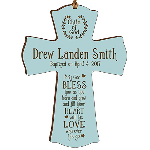 LifeSong Milestones Personalized Baptism 1st Holy Communion Christening Gifts Custom Wall Cross Child of God. May God Bless You as You Learn and Grow (Blue) ()