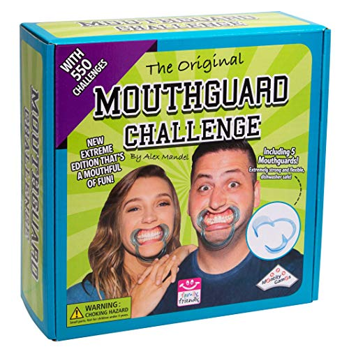 Identity Games Mouthguard Challenge Extreme Edition - Family Party Game with 550 Challenges and 5 Soft Mouthguards - Extreme Party Pack