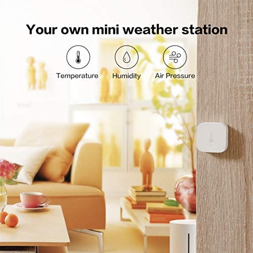 Aqara Temperature and Humidity Sensor, REQUIRES AQARA HUB, Zigbee Connection, for Remote Monitoring and Smart Home Automation, Wireless Thermometer Hygrometer, Compatible with Apple HomeKit, Alexa 51b1s0sPu2L
