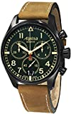 Alpina Men's 'SmartimePilot' Swiss Quartz Stainless Steel and Leather Casual Watch, Color:Brown (Model: AL372GR4FBS6)