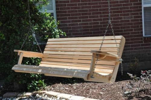 5 Ft Cypress Porch Swing with Unique Adjustable Seating Angle - Handmade in Louisiana (Louisiana Cypress Swings)