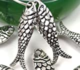 10 Silver Pewter Fish Bead Charms 24x7mm ~ Lead-Free ~