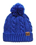 MIRMARU Winter Oversized Cable Knitted Pom Pom Beanie Hat with Fleece Lining. (Royal Blue)