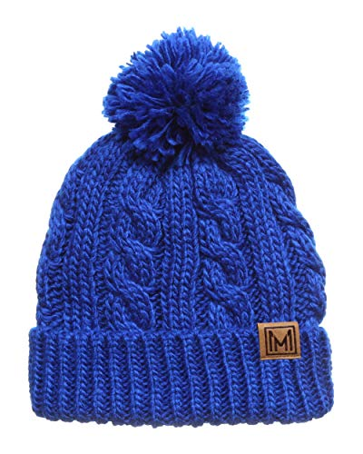 (MIRMARU Winter Oversized Cable Knitted Pom Pom Beanie Hat with Fleece Lining. (Royal Blue) )