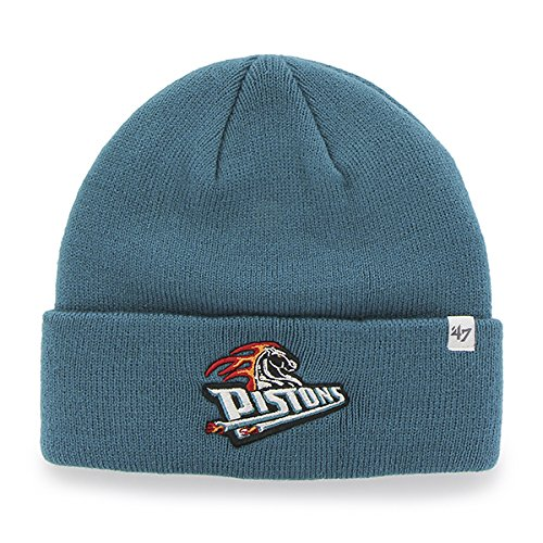 ('47 Detroit Pistons Teal Cuff Beanie Hat - NBA Cuffed Winter Knit Toque)