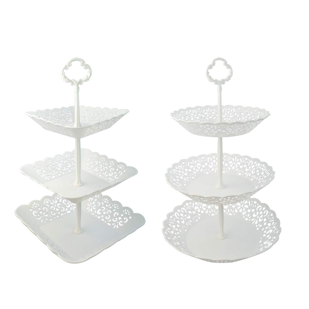 obmwang 2pcs European Style 3-Tier Cake Dessert Stand & Fruit Plate Stand Set Round & Square Plastic Fruit Cake Buffet Stand for Cupcake Candy Cookie for Wedding Party Banquet